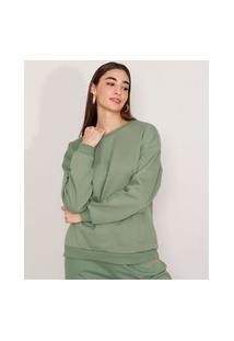 Blusão Amplo De Moletom Decote Redondo Mindset Verde