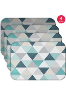 Jogo Americano Love Decor Wevans Green Triangle Kit Com 4 Pçs