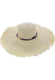 Chapéu Sombrero Alma De Praia De Palha Com Aba Franjada - Feminino-Bege