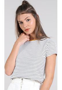 39b77e821 ... Blusa Feminina Básica Listrada Manga Curta Decote Redondo Off White