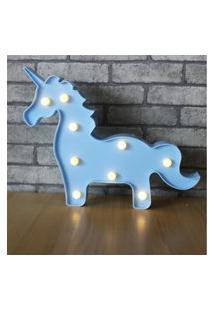 Luminaria Led Abajur Luz Decoracáo Modelo Cavalo Azul