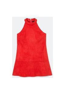Vestido Liso Com Cava Americana E Detalhe Matelassado | A-Collection | Vermelho | M