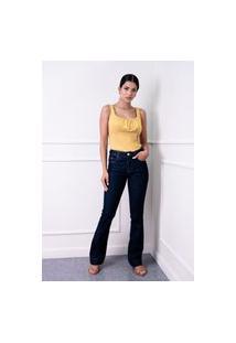 Calça Jeans Boot Cut Sisal Jeans Basica Azul Escuro