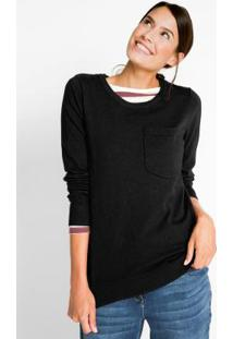 Suéter De Tricô Com Bolso Preto