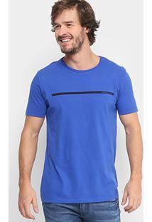 Camiseta Calvin Klein Logo Listra Masculina - Masculino-Azul