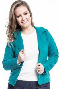 Blazer Plus Size Bolsos Mirasul Feminino - Feminino-Verde