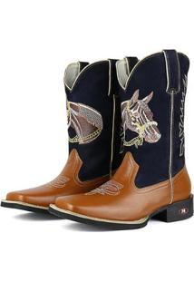 Bota Couro Texana Sapatofran Cavalo Masculina - Masculino-Marrom