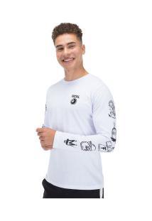 Camiseta Manga Longa Estampada 22244 - Masculina - Branco