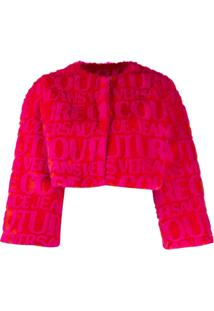 Versace Jeans Couture Jaqueta Cropped Com Logo - Rosa