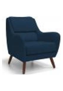 Poltrona Decorativa Para Sala De Estar E Recepção Gooby D02 Veludo Azul Oxford B-304 - Lyam Decor