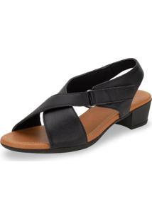 Sandália Salto Baixo Velcro Usaflex - Ad4911 Feminina - Feminino-Preto