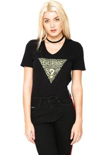 Camiseta Guess Onça Glitter Preta
