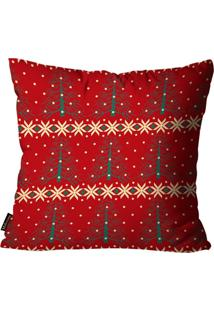 Capa Para Almofada Mdecore Natal Arvore Vermelha 45X45Cm
