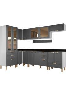 Cozinha Modulada 9 Peças Com Tampo Nevada 5950-Multimóveis - Branco Premium / Grafite Premium