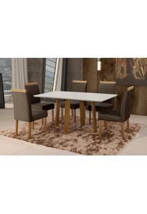 Conjunto De Mesa De Jantar Com 6 Cadeiras E Tampo De Madeira Maciça Espanha Iii Suede Grafite E Off White