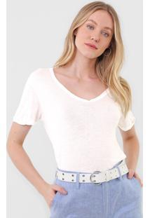 Camiseta Lez A Lez Lisa Off-White - Off White - Feminino - Modal - Dafiti