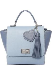 Bolsa De Couro Transversal Griffazzi - Feminino-Azul Claro