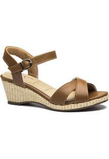 Sandália Couro Doctor Shoes Anabela 613 Feminina - Feminino-Bege
