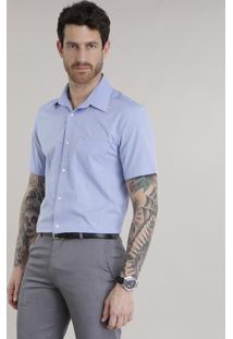 Camisa Comfort Estampada Azul