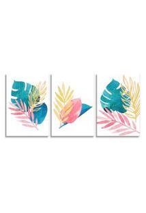 Quadro Oppen House 60X120Cm Folhagem Folhas Aquarela Canvas Decoraçáo