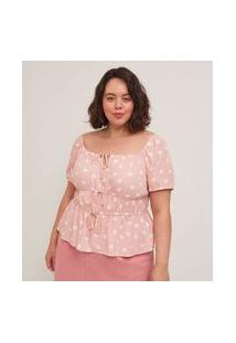 Blusa Poá Em Viscose Com Amarrações Curve E Plus Size Rosa