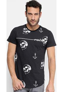 Camiseta Rg 518 Caveiras E Âncoras Masculina - Masculino-Preto
