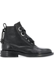 Zadig&Voltaire Ankle Boot Com Cadarço E Salto 30Mm - Preto