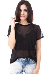 Camiseta Moda Vício Tule Preto