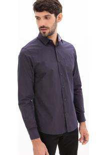 Camisa Slim Fit Manga Longa Estampa Xadrez Mini Grid Com Bolso