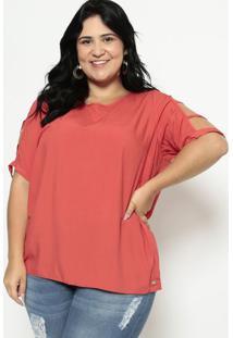 Blusa Com Recortes Vazados - Vermelho Claromalwee