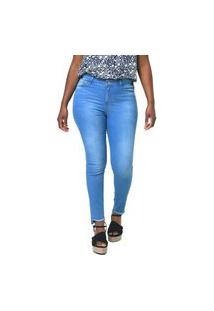 Calça Feminina Jeans Cigarrete Flip Flop Com Barra Desnivel