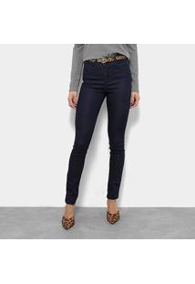 Calça Jeans Razon Cinto Cobra Cintura Média Feminina - Feminino-Azul