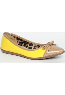 Sapatilha Bicolor Com Laço- Amarela & Begecarmen Steffens
