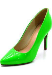 Scarpin Verniz Verde Neon