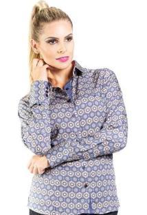 Camisa Slim Reta Arabesco Carlos Brusman Feminina - Feminino-Azul