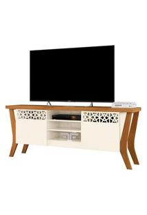 Rack Bancada Para Tv Até 60 Polegadas Sala De Estar Decor Off White/Coral - Frade Movelaria
