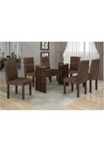 Conjunto Mesa Jantar Ravena Plus C/ 6 Cadeiras Marron 27 Cel Móveis