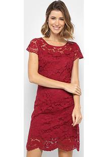 Vestido Royallove Curto Renda - Feminino-Vinho