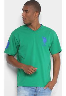 Camiseta U.S. Polo Assn Bordado Gola V Masculina - Masculino