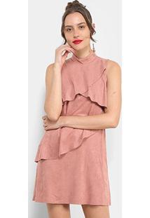 Vestido The Style Box Curto Regata Suede Babados - Feminino-Rosa