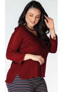 Blusa Plus Size Bordô Alongada