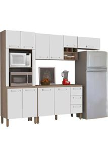 Cozinha Compacta Ametista Com Balcão 10 Portas Composição 7 Nogal/Bran
