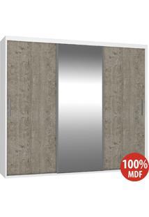 Guarda Roupa 3 Portas Com 1 Espelho 100% Mdf 1975E1 Branco/Demolição - Foscarini