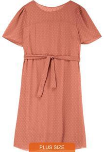 Vestido Rosê Tradicional Em Plumetti Plus