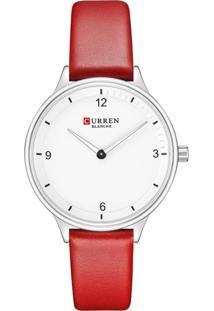 Relógio Curren Analógico C9039L Prata E Vermelho