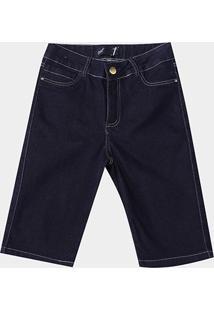 Bermuda Jeans Naiff Básica Feminina - Feminino-Azul