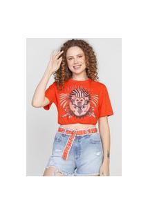 Camiseta Cropped Colcci Selva Encantada Laranja