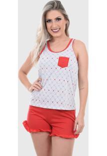Pijama Baby Doll Regata Shorts Doll Confortável Feminino Cinza Vermelho