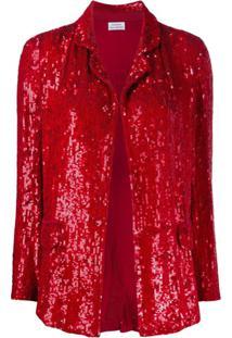 P.A.R.O.S.H. Blazer Gummy Com Paetês - Vermelho