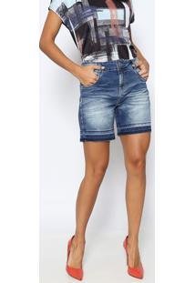 Bermuda Jeans Estonada Com Bigodes- Azuldimy